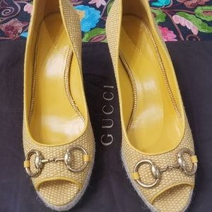 Gucci horsebit wedge espadrilles
